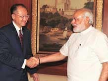 World Bank President Jim Yong Kim with Prime Minister Narendra Modi in New Delhi
