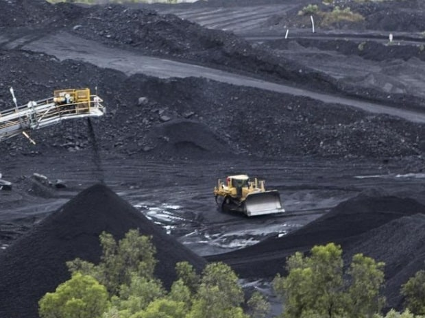 Coal is stockpiled at the Blair Athol mine at the remote Bowen Basin coalfield near Moranbah