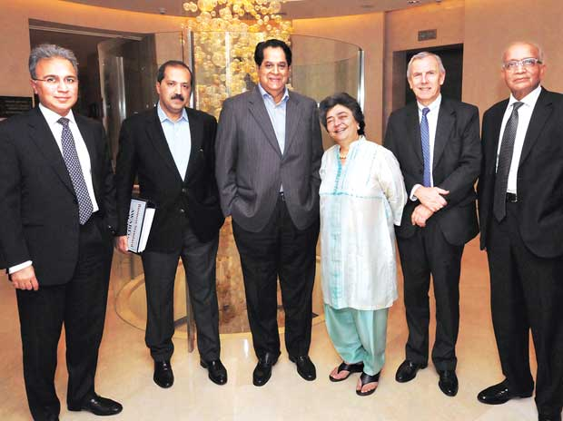 (from left) EY India CEO & Country Managing Partner Rajiv Memani, KKR India CEO Sanjay Nayar, ICICI Bank and Infosys Chairman  K V Kamath, AZB & Partners Managing Partner Zia Mody, Vodafone India MD & CEO Marten Pieters and Maruti Suzuki India Chairm