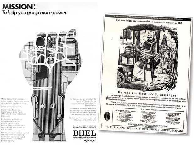 A BHEL ad from the 1970s, RK Swamy (left); a TVS print ad (right)