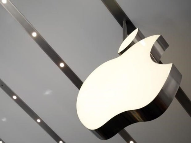 The Apple logo is pictured inside the newly opened Omotesando Apple store at a shopping district in Tokyo