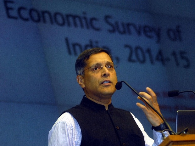 Chief Economic Adviser Arvind Subramanian interacting with media about the Economic Survey of India 2014-15 in New Delhi