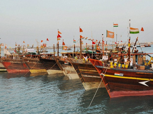 Indian fishing boats on their arrival at Porbandar on Tuesday, March 24 2015,  after they were released by Pakistan authority Picture by PTI