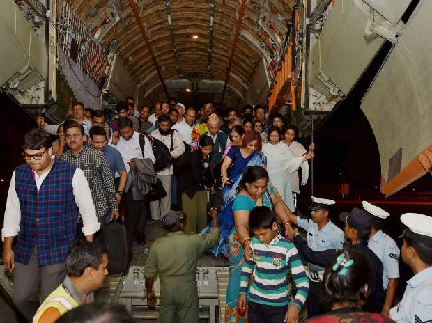 Indians evacuated from earthquake hit Nepal arrive  at Air Force Station Palam, New Delhi