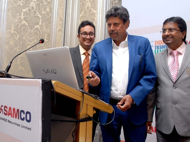 In this file photo, (L-R) Jimeet Modi, CEO, SAMCO Securities Limited, Kapil Dev, former Indian cricketer and Vipul Modi, Chairman, SAMCO Ventures at the SAMCO Securities' launch of India's First Market League in Mumbai (Photo: Kamlesh Pednekar)
