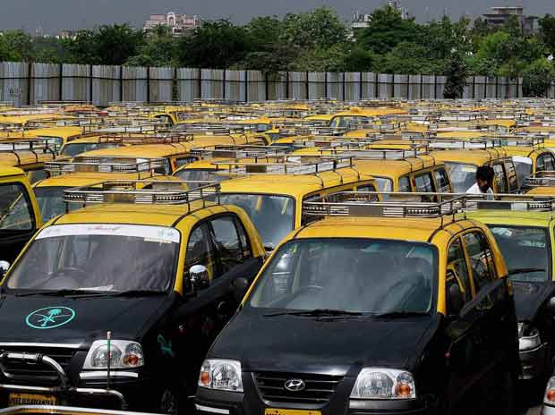 A view of taxis parked at a terminal in Mumbai during trade union workers' nation-wide strike on Wednesday, 02 September 2015 Picture by PTI