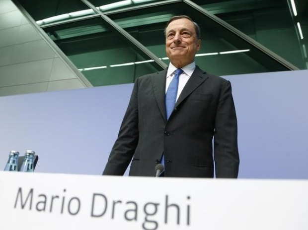 European Central Bank president Mario Draghi arrives for a news conference at the ECB headquarters in Frankfurt