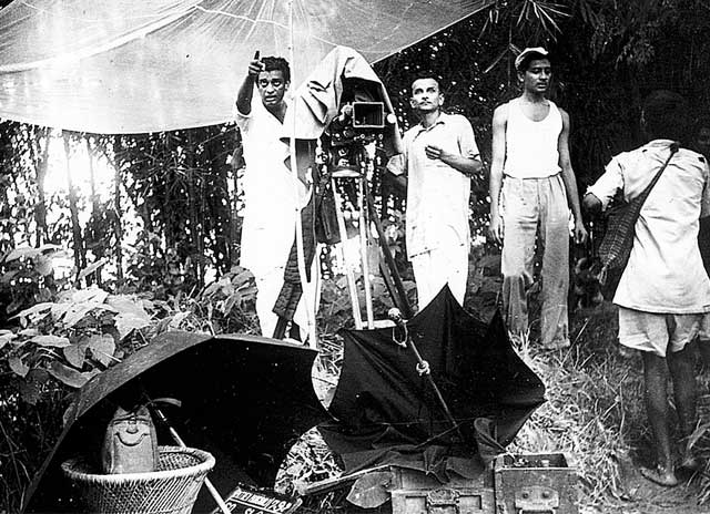Satyajit Ray (far left) during the production of the film in 1955