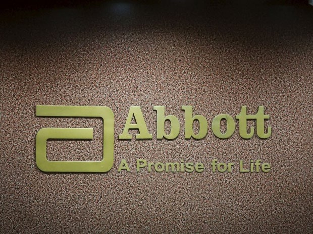 An Abbott company logo is pictured at the reception of its office in Mumbai