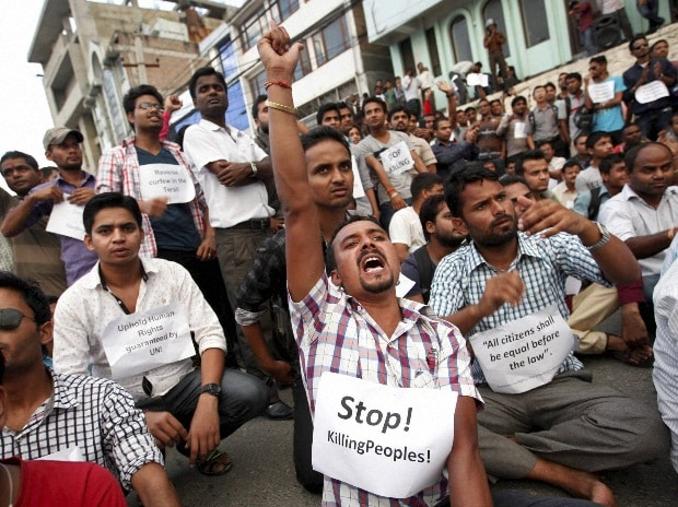 Activists of the Madhesi group participate in a protest near the Constituent Assembly Hall in Kathmandu