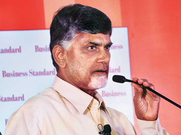 Andhra Pradesh CM N Chandrababu Naidu at the Business Standard Andhra Pradesh Round Table in Vijayawada on Monday