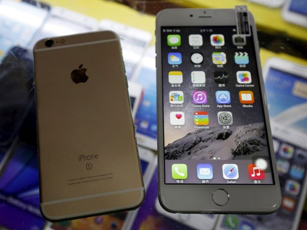 A fake Apple iPhone 6s (L), which sells at RMB 580 ($91) is seen beside a fake iPhone 6 Plus, which sells at RMB 630 ($99), are seen in this photo illustration taken in Shenzhen