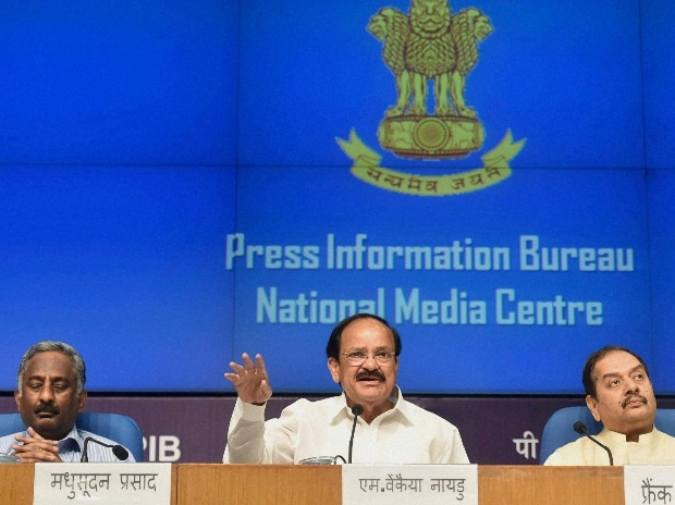 Union Minister for Urban Development, Housing and Urban Poverty Alleviation and Parliamentary Affairs,  M. Venkaiah Naidu addresses a press conference on the one year of the Swachh Bharat Mission, in New Delhi on Thursday. Secretary, Ministry of Urba