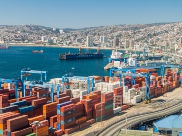 Cranes in a port at Valparaiso, Chile. Image via shutterstock.com