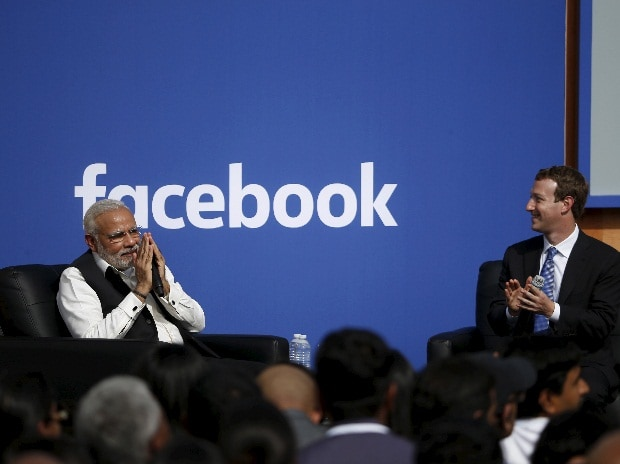 A file photo of Indian Prime Minister Narendra Modi (L) and Facebook CEO Mark Zuckerberg at Facebook's headquarters in Menlo Park, California