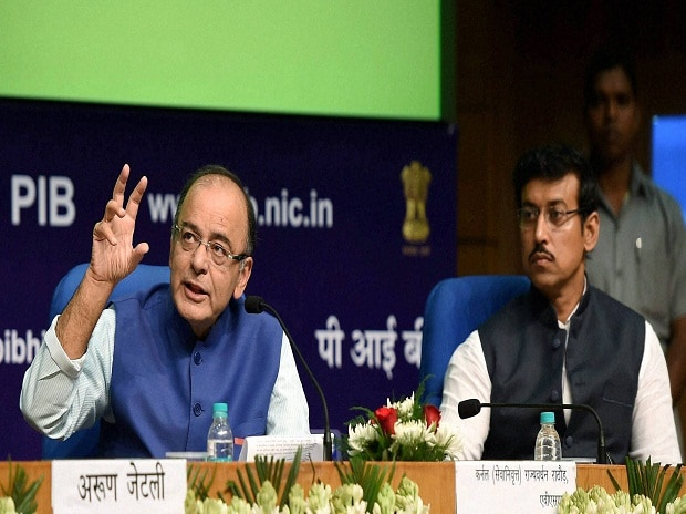 Arun Jaitley, Union Minister for Finance, Corporate Affairs and Information & Broadcasting delivers the