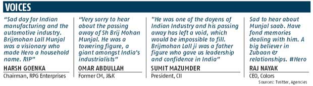 B M Munjal, father of Indian two-wheeler industry, passes away
