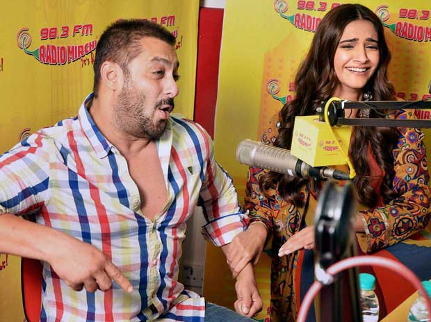 Actor Salman Khan with actress Sonam Kapoor at Radio Mirchi studio for promotion of their upcoming film 'Prem Ratan Dhan Payo' in Mumbai on Monday, November 2, 2015 PTI Photo