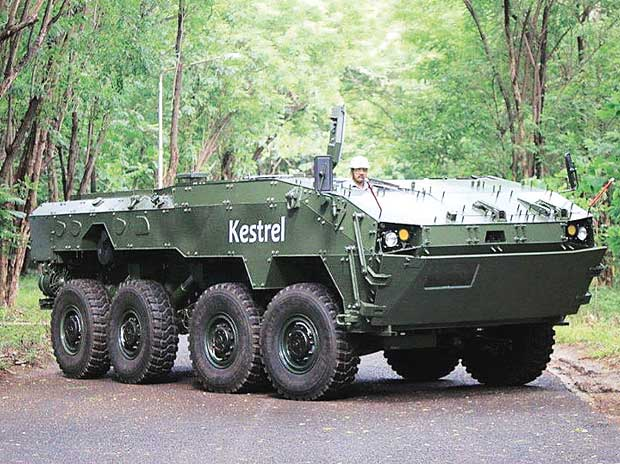 The Kestrel, an eight-wheeled amphibious vehicle that Tata Motors displayed at Defexpo 2014 in New Delhi to demonstrate its capability in the FICV project