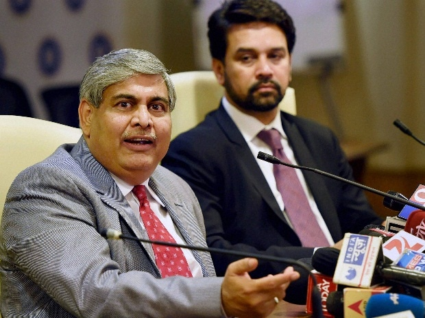 BCCI President Shashank Manohar along with BCCI secretary Anurag Thakur interact with media after the AGM at the BCCI headquarters in Mumbai