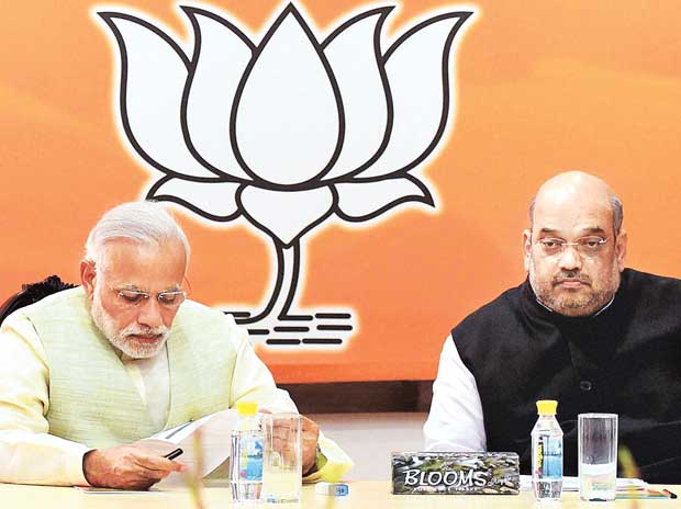 Prime Minister Narendra Modi and BJP President Amit Shah at the party's parliamentary board meeting in New Delhi (Photo: PTI)