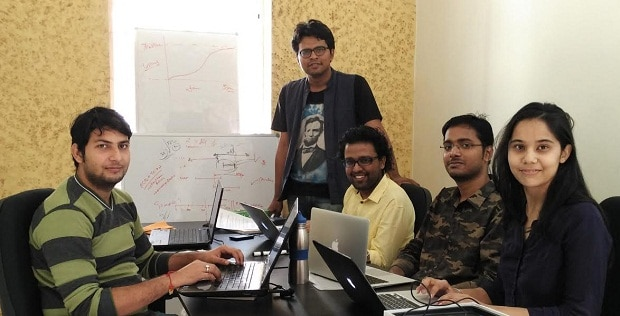 Eckovation CEO Ritesh Singh (2nd) and CTO Akshat Goel (3rd) with other team members (from left to right).