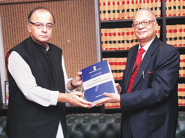 Chairman of the Seventh Pay Commission  A K Mathur (right) submitted the 900-page report to Finance Minister Arun Jaitley, in New Delhi on Thursday
