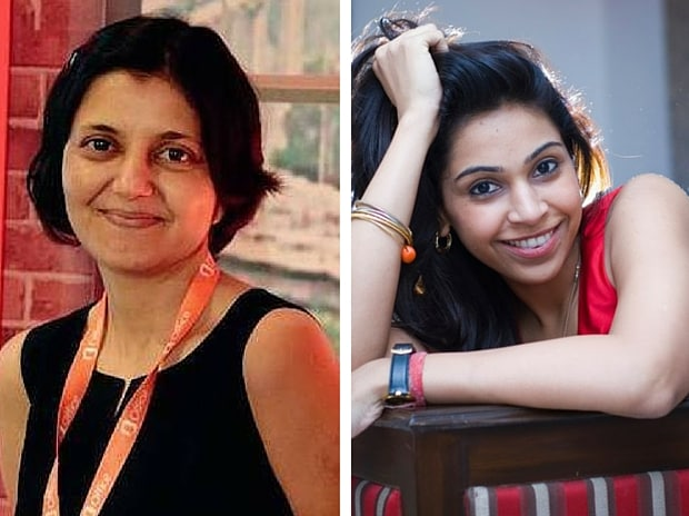 Sairee Chahal of Sheroes (left) and Anisha Singh of MyDala. Images via Tech in Asia