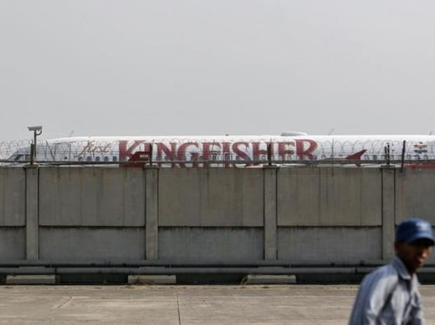 A Kingfisher Airlines aircraft is seen parked at ...