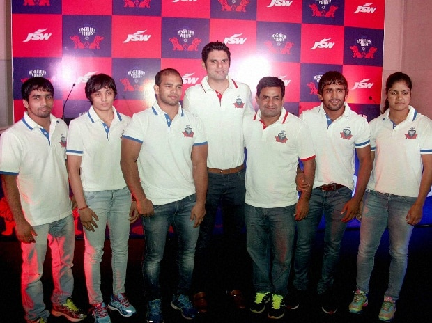 Wrestlers at the launch of the