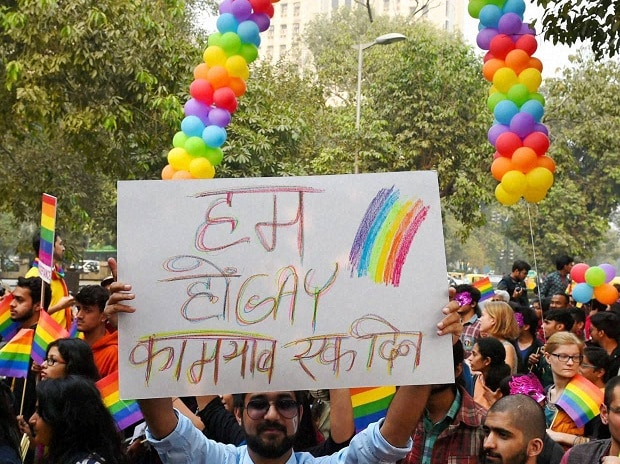 Members and supporters of the lesbian, gay, bisexual, trans-gender (LGBT) community during a Delhi Queen Pride 2015,  in New Delhi on Sunday. PTI Photo