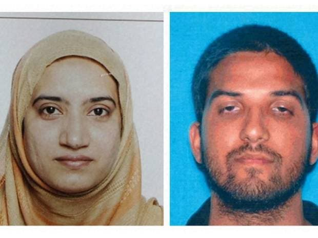 This undated combination of photos provided by the FBI, left, and the California Department of Motor Vehicles shows Tashfeen Malik, left, and Syed Farook. The husband and wife died in a fierce gunbattle with authorities several hours after their com