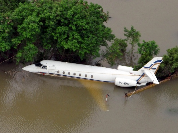 An aerial view of a partially submerged airplane is pictured in a flood affected area in Chennai
