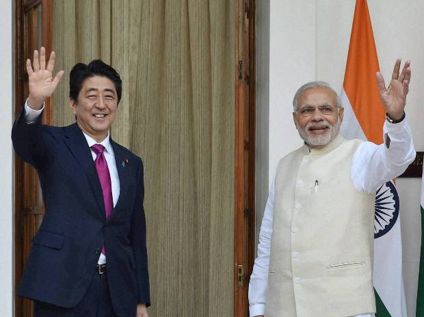 Prime Minister Narendra Modi with  his Japanese counterpart Shinzo Abe. Photo: PTI