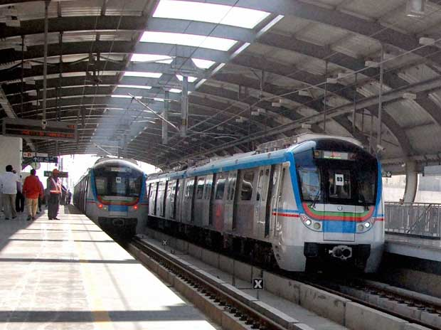Metro trains on trial run between Mittuguda and Nagole, in Hyderabad  on Friday, December 18, 2015 PTI
