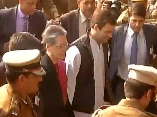 Sonia Gandhi and Rahul Gandhi reach Patiala House Court. Photo: ANI