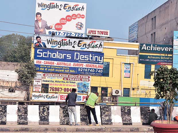 The chaotic Narinder Cinema area in Jalandhar offers all kinds of visa and education solutions to Punjabis who want to emigrate to Canada