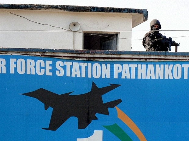 A Security forces jawan guards inside the Pathankot Air Force base after the end of the military operation against militants on Tuesday. PTI Photo