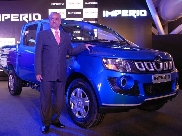 Pravin Shah, President & Chief Executive (Automotive), Mahindra & Mahindra Ltd at the launch of new premium pick-up truck Imperio in Mumbai