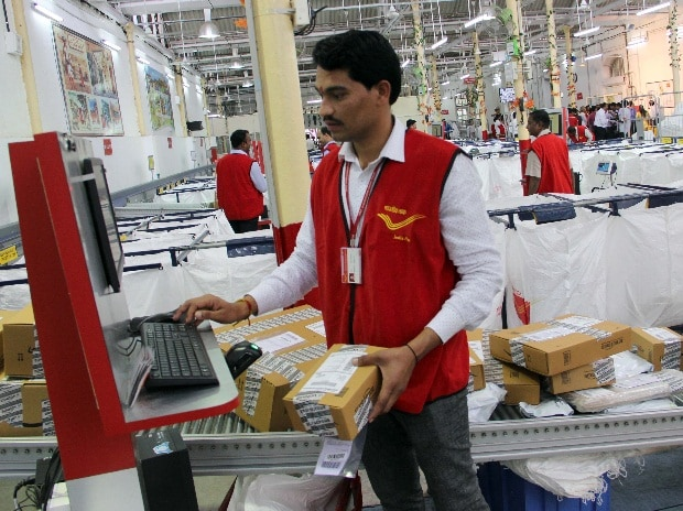 An employee at India Post's e-Commerce Parcel Processing Centre in Mumbai (pic: Kamlesh Pednekar)