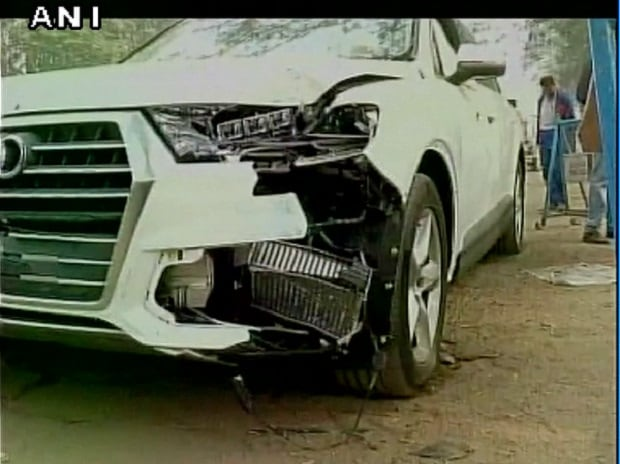 The speeding car which hit Corporal Abhimanyu Gaud (Photo: ANI)