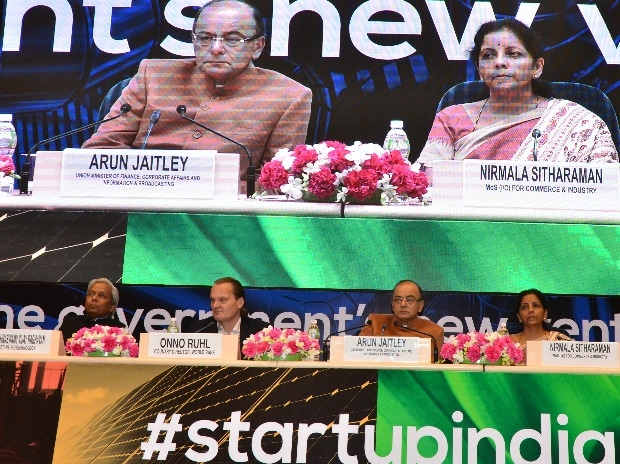 Krishnaswamy Vijay Raghvan, Secretary, Biotechnology, Onno Ruhi, Country Director, World Bank, FM Arun Jaitley and Nirmala Sitharaman, Minister of State for Ministry of Commerce and Industry at the Start-up India event in Vigyan Bhawan in New Delhi.