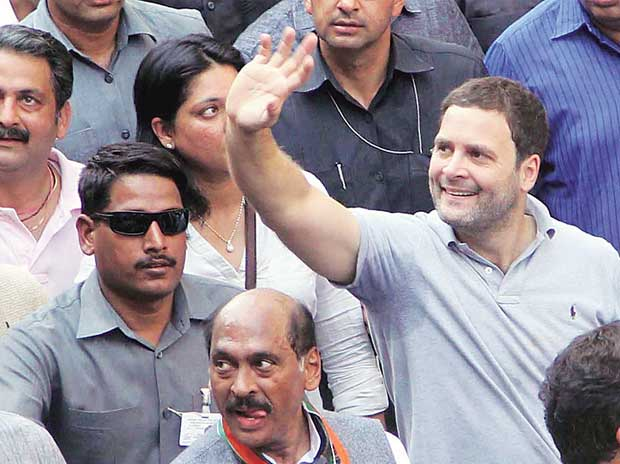 Congress Vice-president Rahul Gandhi during his roadshow, from National College, Bandra to Dharavi, in Mumbai on Saturday