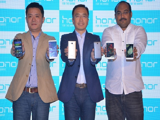 Launch of Honor 5X and Honor Holly 2 Plus by Allen Wang, president of consumer business group, Huawei India, George Zhao, president of Honor and P Sanjeev, vice-president (sales), Huawei India, Consumer Business Group in New Delhi