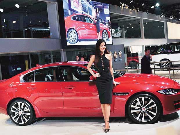 Katrina Kaif with a Jaguar XE at Auto Expo 2016 in Greater Noida on Wednesday