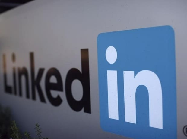 The logo for LinkedIn Corporation, a social networking website for people in professional occupations, is pictured in Mountain View, California