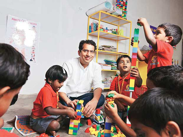 Hippocampus Learning Centres founder  & chief executive officer Umesh Malhotra with children