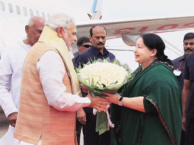 Prime Minister Narendra Modi is greeted by Tamil ...