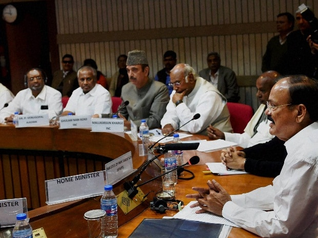 Union Parliamentary Affairs Minister M Venkaiah Naidu chairing an all-party meeting ahead of the budget session at Parliament House in New Delhi