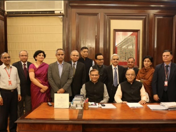 Budget 2016: Finance Minister Arun Jaitley, with the budget team. Photo: Twitter